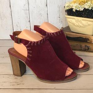 Bella Vita Peep Toe Suede Block Heel Sandal